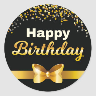 Golden glitters Happy Birthday black background Classic Round Sticker