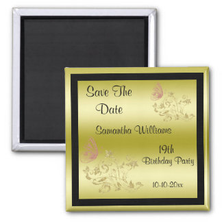 Golden Glitters & Sparkly Butterfly 19th Birthday 2 Inch Square Magnet