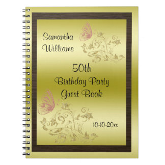 Golden Glitters & Sparkly Butterfly 50th Birthday Notebook
