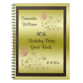Golden Glitters & Sparkly Butterfly 90th Birthday Spiral Notebook