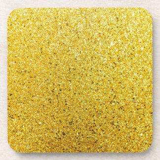 Golden Glittery Sunshine Beverage Coaster