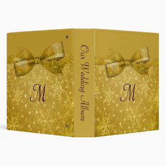 Golden Glitz & Shimmer Snowflakes Wedding Binder