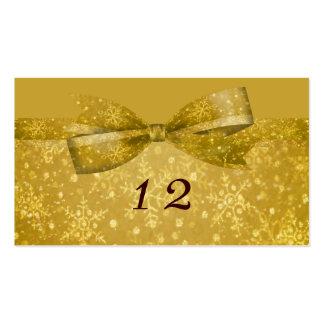 Golden Glitz Shimmer Snowflakes Wedding Business Card
