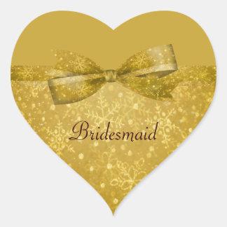 Golden Glitz & Shimmer Snowflakes Wedding Heart Sticker