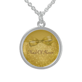 Golden Glitz & Shimmer Snowflakes Wedding Sterling Silver Necklace