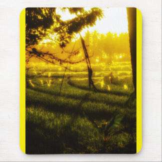 Golden Glow of Late Afternoon on Balinese Rice Fie Mouse Pad