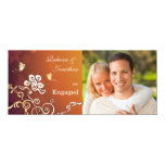 """Golden Glow - Photo Engagement Party Invitation 4"""" X 9.25"""" Invitation Card"""