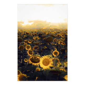 Golden Glow Sunflower Scape Custom Stationery