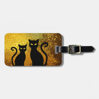 Golden Glow Textured Black Cat Kittens Luggage Tag