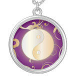 Golden Glow Yin & Yang Round Pendant Necklace