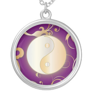 Golden Glow Yin & Yang Silver Plated Necklace