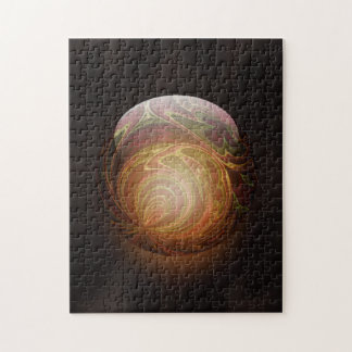 Golden Glowing Round Marble Abstract Jigsaw Puzzle