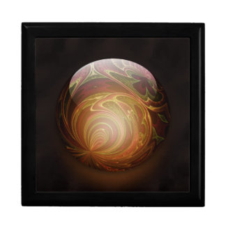 Golden Glowing Round Marble Abstract Keepsake Box
