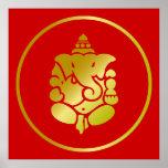 Golden God Ganesha Poster