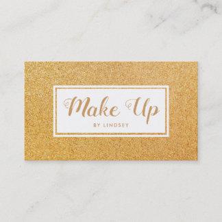 Golden Gold Sparkle Glitter Make Up Artist Business Card
