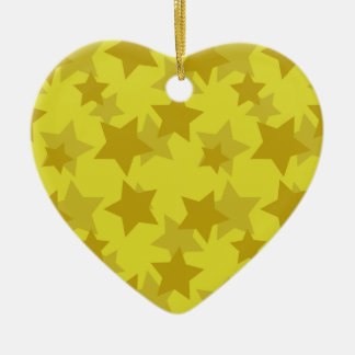 Golden/Gold Stars Pattern Ceramic Ornament