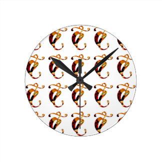 Golden GOODLUCK Jewel Print Pattern Festival FUN Round Clock