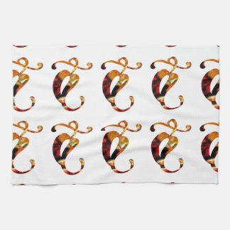 Golden GOODLUCK Jewel Print Pattern Festival FUN Kitchen Towel