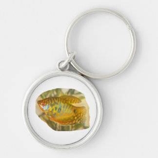 Golden Gourami Side View Saturated Aquarium Fish Silver-Colored Round Keychain