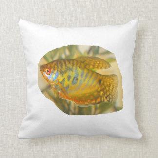 Golden Gourami Side View Saturated Aquarium Fish Throw Pillow