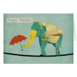 Golden Graceful Elephant Birthday  Card
