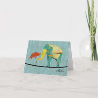Golden Graceful Elephant Personalized Notecard