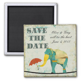 Golden Graceful Elephant Save the Date Magnet