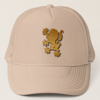 Golden Gradient Embossed Heraldic Lion With Shadow Trucker Hat
