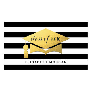 Golden Graduation Cap Graduate Personal Contact Double-Sided Standard Business Cards (Pack Of 100)