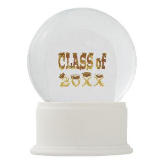 Golden Graduation Hats Class of White Snow Globe
