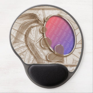 Golden Graphic Heart Oval Photo Frame Gel Mouse Pad