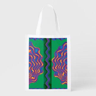 Golden Graphics Fire Flames Energy Healing Art. Grocery Bag