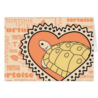 Golden Greek Tortoise Greeting Card (heart orange)