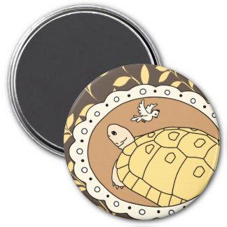Golden Greek Tortoise Magnet (brown oval)
