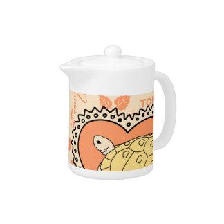 Golden Greek Tortoise Teapot (heart orange)