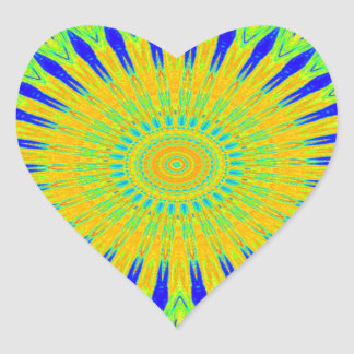 Golden Green African Traditional Fabric Colors Heart Sticker