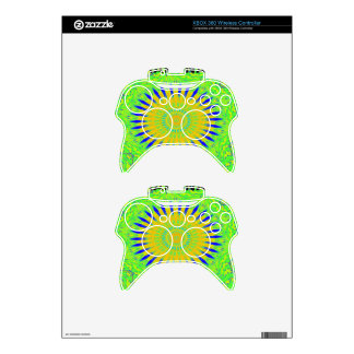 Golden Green African Traditional Fabric Colors Xbox 360 Controller Skins