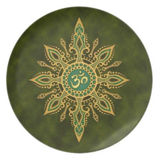 Golden Green Aum Star Dinner Plates