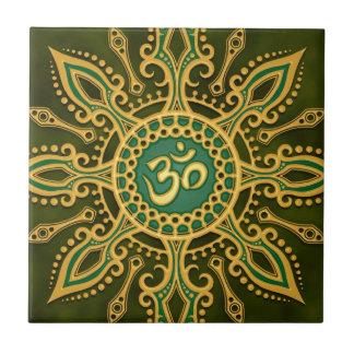 Golden Green Aum Star Tile