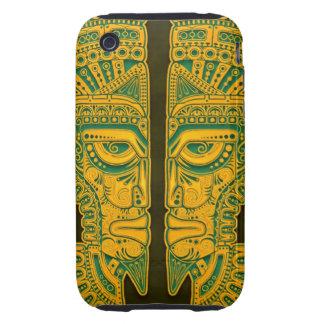 Golden Green Aztec Twins iPhone 3 Tough Case