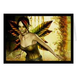 Golden Green Faerie Card
