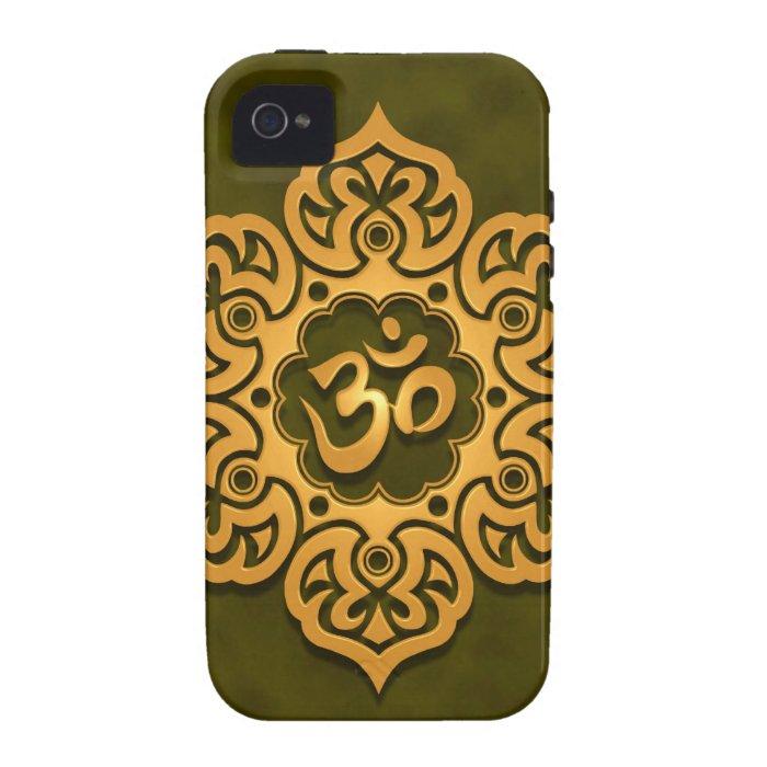Golden Green Floral Om Design Case-Mate iPhone 4 Case