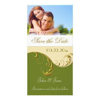 "Golden Green Flourish/photo  ""Save the Date"" Card"