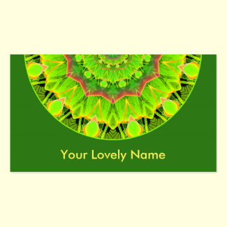 Golden Green Foliage Ferns Abstract Summer Mandala Double-Sided Standard Business Cards (Pack Of 100)