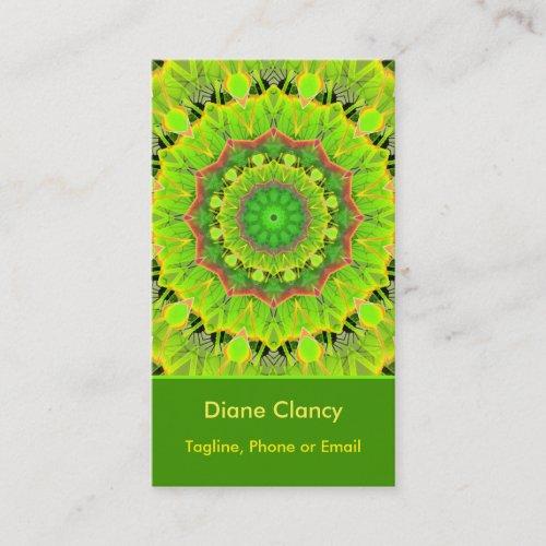 Golden Green Foliage Ferns Modern Summer Mandala Business Card