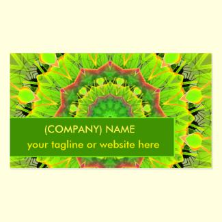 Golden Green Foliage Ferns Modern Summer Mandala Double-Sided Standard Business Cards (Pack Of 100)