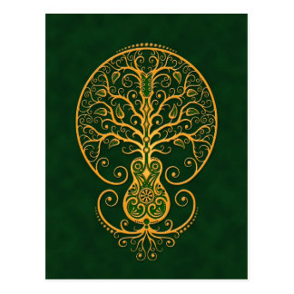 Golden Green Guitar Tree of Life Postcards