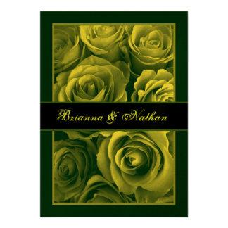 GOLDEN GREEN Rose Bouquet Wedding Invitation