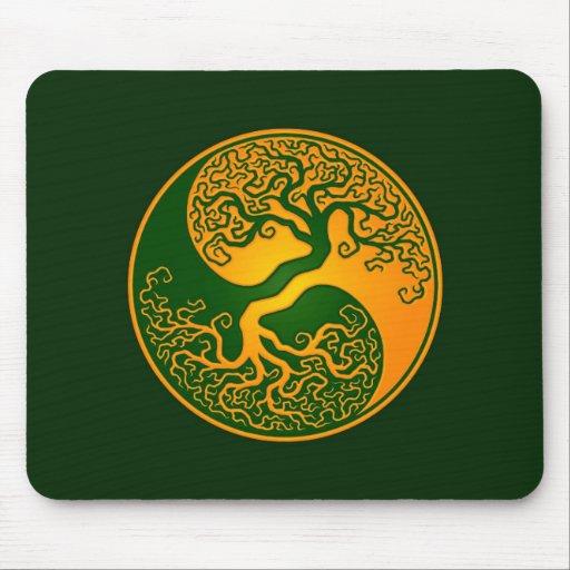 Golden Green Tree of Life Yin Yang Mousepads