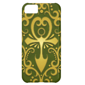 Golden Green Tribal Ankh Cover For iPhone 5C
